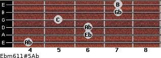 Ebm6/11#5/Ab for guitar on frets 4, 6, 6, 5, 7, 7