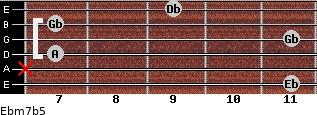 Ebm7b5 for guitar on frets 11, x, 7, 11, 7, 9