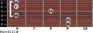 Ebm9/11/C# for guitar on frets 9, 9, 6, 8, 6, 6