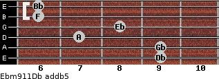 Ebm9/11/Db add(b5) guitar chord