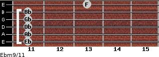 Ebm9/11 for guitar on frets 11, 11, 11, 11, 11, 13