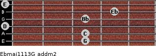 Ebmaj11/13/G add(m2) guitar chord