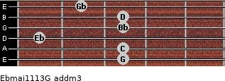 Ebmaj11/13/G add(m3) guitar chord