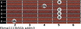 Ebmaj11/13b5/Gb add(m3) guitar chord