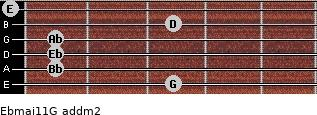 Ebmaj11/G add(m2) guitar chord
