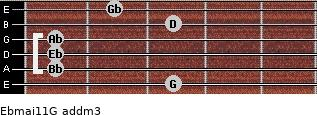 Ebmaj11/G add(m3) guitar chord