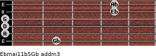 Ebmaj11b5/Gb add(m3) guitar chord
