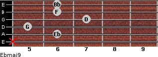 Ebmaj9 for guitar on frets x, 6, 5, 7, 6, 6