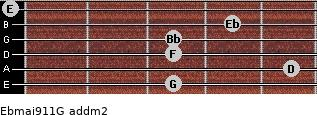 Ebmaj9/11/G add(m2) guitar chord