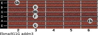 Ebmaj9/11/G add(m3) guitar chord