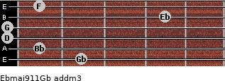 Ebmaj9/11/Gb add(m3) guitar chord