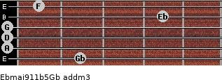 Ebmaj9/11b5/Gb add(m3) guitar chord