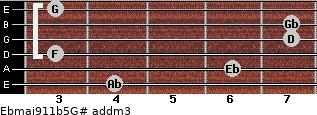 Ebmaj9/11b5/G# add(m3) guitar chord