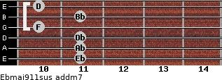 Ebmaj9/11sus add(m7) guitar chord