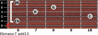 Ebmajor7(add13) for guitar on frets x, 6, 10, 7, 8, 6