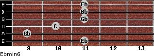 Ebmin6 for guitar on frets 11, 9, 10, 11, 11, 11