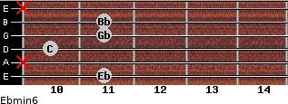 Ebmin6 for guitar on frets 11, x, 10, 11, 11, x