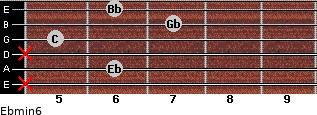 Ebmin6 for guitar on frets x, 6, x, 5, 7, 6