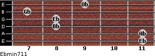 Ebmin7/11 for guitar on frets 11, 11, 8, 8, 7, 9