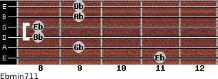 Ebmin7/11 for guitar on frets 11, 9, 8, 8, 9, 9