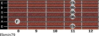 Ebmin7/9 for guitar on frets 11, 8, 11, 11, 11, 11