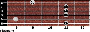 Ebmin7/9 for guitar on frets 11, 8, 11, 11, 11, 9