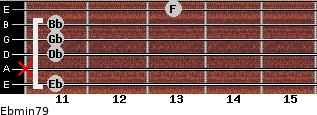 Ebmin7/9 for guitar on frets 11, x, 11, 11, 11, 13