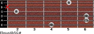 Ebsus4(b5)/G# for guitar on frets 4, 6, 6, 2, x, 5