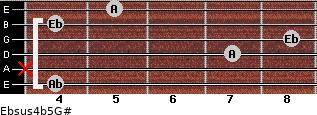 Ebsus4(b5)/G# for guitar on frets 4, x, 7, 8, 4, 5