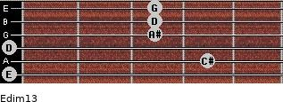 Edim13 for guitar on frets 0, 4, 0, 3, 3, 3