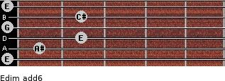 Edim(add6) for guitar on frets 0, 1, 2, 0, 2, 0