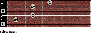 Edim(add6) for guitar on frets 0, 1, 2, 0, 2, 3