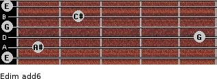 Edim(add6) for guitar on frets 0, 1, 5, 0, 2, 0