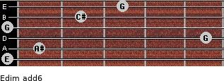 Edim(add6) for guitar on frets 0, 1, 5, 0, 2, 3