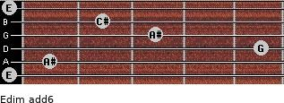 Edim(add6) for guitar on frets 0, 1, 5, 3, 2, 0