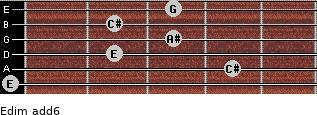Edim(add6) for guitar on frets 0, 4, 2, 3, 2, 3