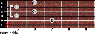 Edim(add6) for guitar on frets x, 7, 5, 6, 5, 6