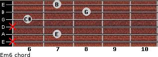 Em6 for guitar on frets x, 7, x, 6, 8, 7