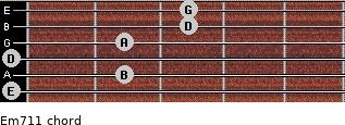 Em7/11 for guitar on frets 0, 2, 0, 2, 3, 3