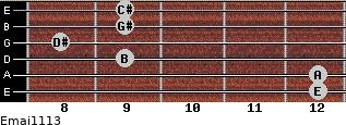 Emaj11/13 for guitar on frets 12, 12, 9, 8, 9, 9
