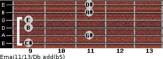 Emaj11/13/Db add(b5) guitar chord