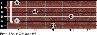 Emaj13sus/C# add(#5) for guitar on frets 9, 7, 10, 8, x, 7