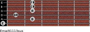 Emaj9/11/13sus for guitar on frets 0, 2, 1, 2, 2, 2