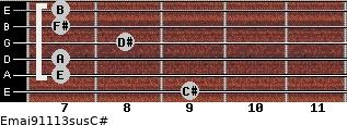Emaj9/11/13sus/C# for guitar on frets 9, 7, 7, 8, 7, 7