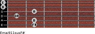 Emaj9/11sus/F# for guitar on frets 2, 2, 1, 2, 0, 0
