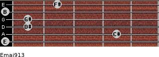 Emaj9/13 for guitar on frets 0, 4, 1, 1, 0, 2