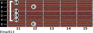 Emaj9/13 for guitar on frets 12, 11, 11, 11, 12, 11