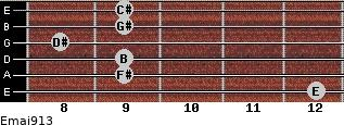 Emaj9/13 for guitar on frets 12, 9, 9, 8, 9, 9