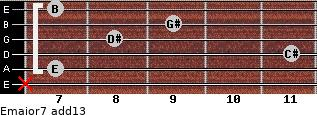Emajor7(add13) for guitar on frets x, 7, 11, 8, 9, 7