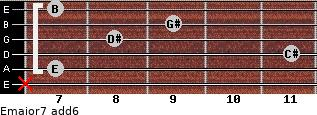 Emajor7(add6) for guitar on frets x, 7, 11, 8, 9, 7